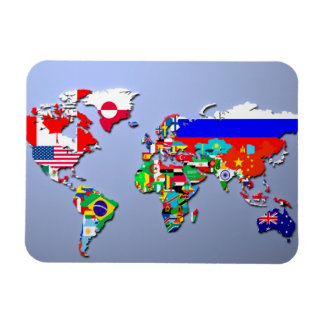 The World Map With Their Flags Rectangular Photo Magnet