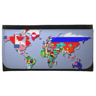 The World Map With Their Flags Wallet