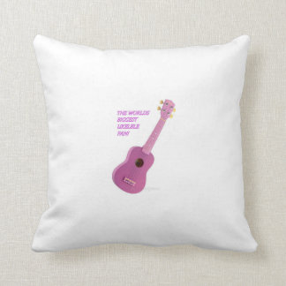The Worlds Biggest Ukelele Fan Cusion Throw Pillow
