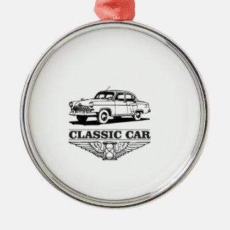 the worlds classic car Silver-Colored round ornament