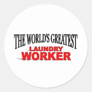 The World's Greatest Laundry Worker Round Sticker