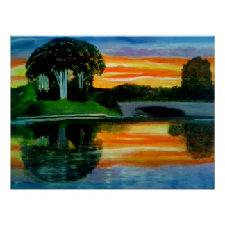 THE WOW FACTOR SUNSET oil painting poster