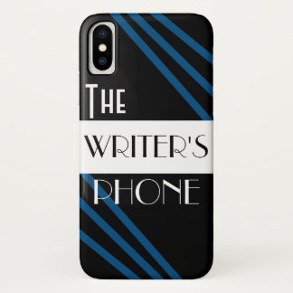 The Writer's Phone Stylish Blue Black White iPhone X Case