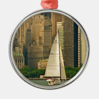 The Yacht! Silver-Colored Round Ornament