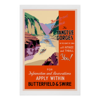 The Yangtsze Gorges Vintage Travel Poster