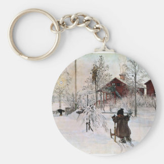The Yard and Wash-House, Carl Larsson Basic Round Button Keychain