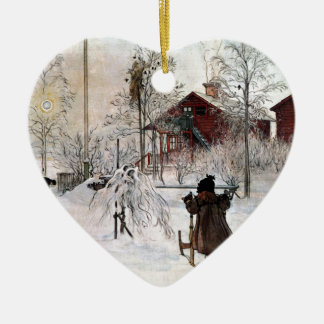 The Yard and Wash-House, Carl Larsson Ceramic Heart Ornament