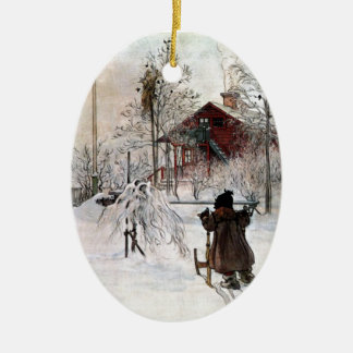 The Yard and Wash-House, Carl Larsson Ceramic Oval Ornament