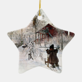 The Yard and Wash-House, Carl Larsson Ceramic Star Ornament