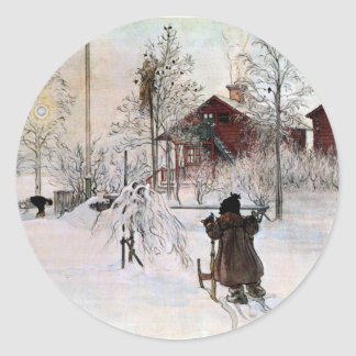 The Yard and Wash-House, Carl Larsson Classic Round Sticker