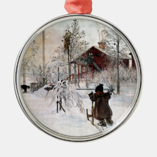 The Yard and Wash-House, Carl Larsson Silver-Colored Round Ornament