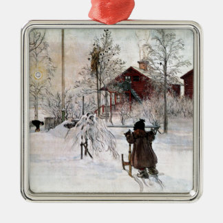 The Yard and Wash-House, Carl Larsson Silver-Colored Square Ornament