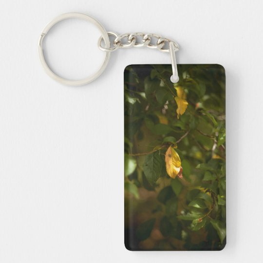 The yellow leaf Double-Sided rectangular acrylic keychain