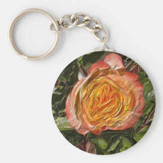 The yellow-pink Rose Basic Round Button Keychain