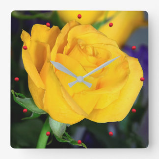 The Yellow Rose Wall Clock by Julie Everhart