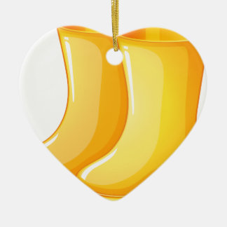 The yellow rubber boots ceramic heart ornament