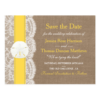 The Yellow Sand Dollar Collection Save The Date Postcard