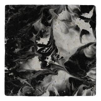 THE YIN & THE YANG TOO black & white abstract art Trivet