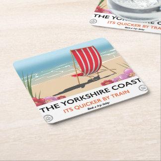 The Yorkshire coast vintage seaside poster Square Paper Coaster
