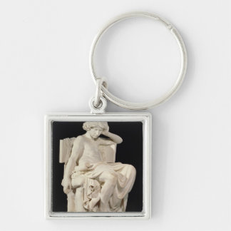 The Young Aristotle, 1870 Silver-Colored Square Keychain