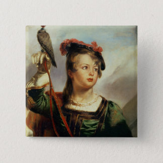 The Young Falconer, 1835 (oil on panel) 2 Inch Square Button