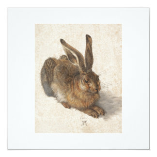 "The Young Hare 5.25"" Square Invitation Card"