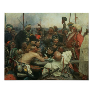The Zaporozhye Cossacks writing a letter Poster