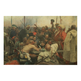 The Zaporozhye Cossacks writing a letter Wood Print