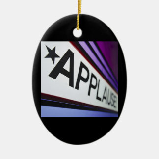 Theater Applause Sign Ceramic Oval Ornament