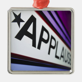 Theater Applause Sign Silver-Colored Square Ornament