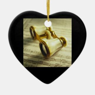 Theater Binoculars 3 Ceramic Heart Ornament