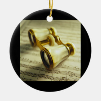 Theater Binoculars 3 Double-Sided Ceramic Round Christmas Ornament