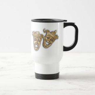 Theater Golden Comedy Tragedy Masks Travel Mug