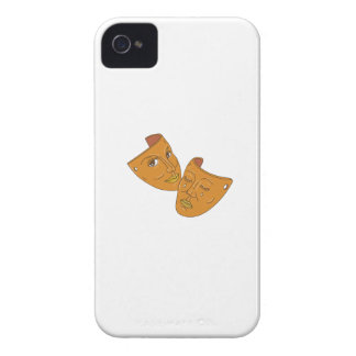 Theater Mask Comedy and Tragedy Mono Line iPhone 4 Case-Mate Case