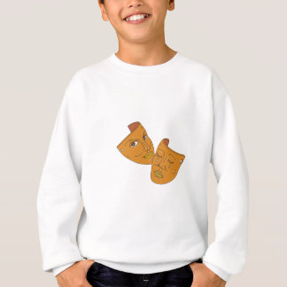 Theater Mask Comedy and Tragedy Mono Line Sweatshirt