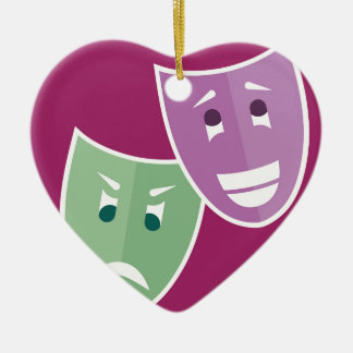 Theater masks ceramic heart ornament