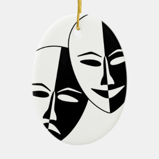 Theater Masks Ceramic Oval Ornament