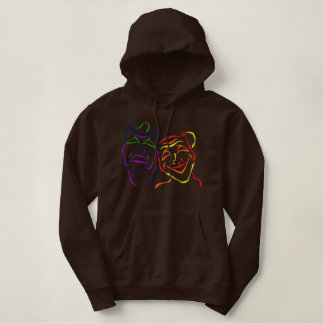 Theater Masks Outline Embroidered Hoody