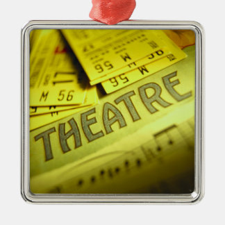Theater Sheet Music & Tickets Silver-Colored Square Ornament