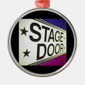 Theater Stage Door Sign Silver-Colored Round Ornament