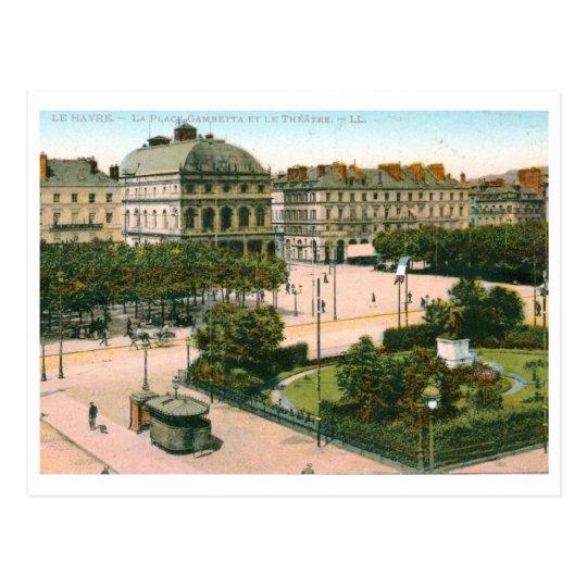 Theatre, Gambetta Place, Le Havre, France Vintage Postcard