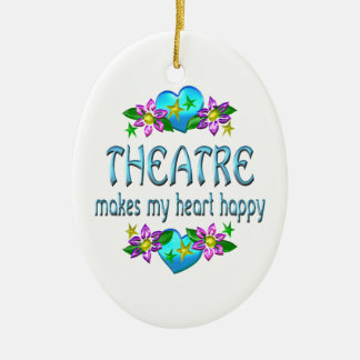 Theatre Heart Happy Ceramic Ornament