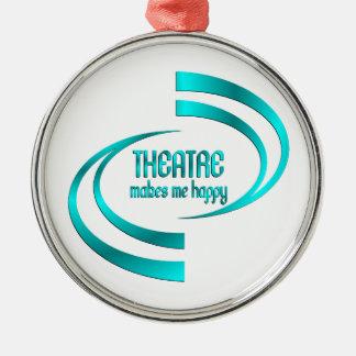 Theatre Makes Me Happy Silver-Colored Round Ornament