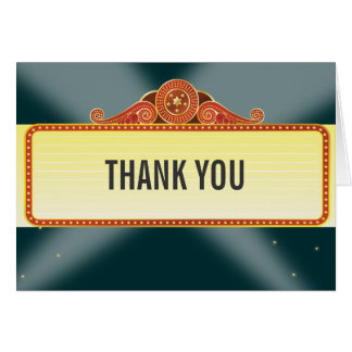 Theatre Marquee Bar Bat Mitzvah Thank You Card