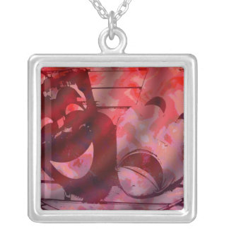 Theatre Masks Red Silver Plated Necklace