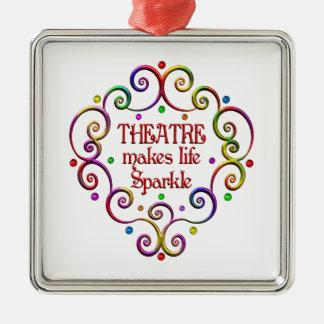Theatre Sparkles Silver-Colored Square Ornament
