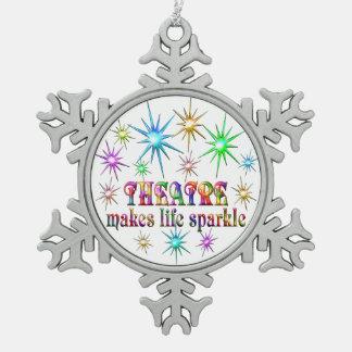 Theatre Sparkles Snowflake Pewter Christmas Ornament
