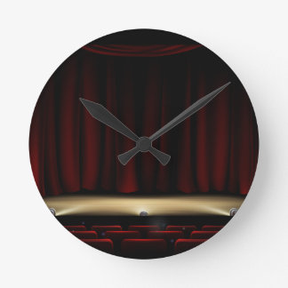 Theatre Stage with Theater Curtains Round Clock