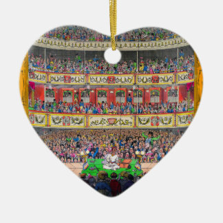"""Theatrical Reflection"" Ceramic Heart Ornament"