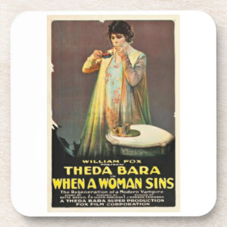 Theda Bara When a Woman Sins Movie Poster Coasters